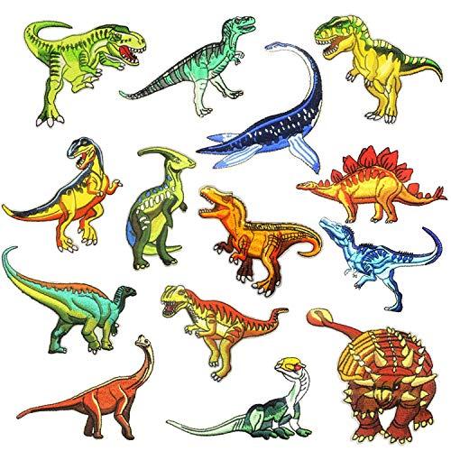 Woohome Patches zum Aufbügeln, 14 Stück Dinosaurier Aufnäher Applikation Flicke Nähen Sie Dekorationsapplikationen Aufkleber für Jeansjacke, Kleidung, Mützen, Reparieren Sie das Loch -