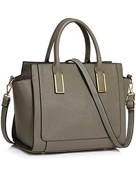 LeahWard Damen Zweifarbige Shaped schönes Elegante Handtaschen Tote Taschen