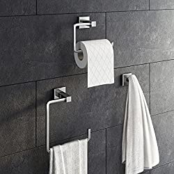 3 Piece Bathroom Accessory Set Towel Ring Toilet Roll Holder + Robe Hook Kit ACC140