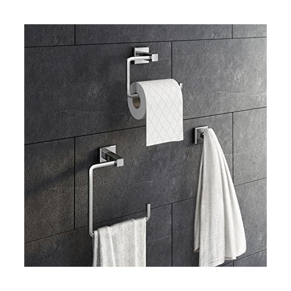 3 Piece Bathroom Accessory Set Towel Ring Toilet Roll Holder + Robe Hook Kit 51lATY0 2BRVL