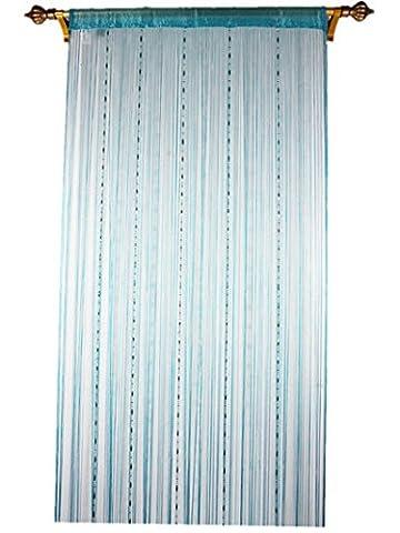 Outil à tricoter de déformation Plastique Chaîne à billes Rideau pour décoration de maison avec Creative à rayures Tassel Motif, bleu, 90x200cm(35x79'')