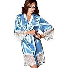☀URIBAKY® Kimono Mujer Bata para Satén Mujer Ropa de Dormir Batas Pijama