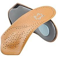 SOUMIT Orthopädisch Einlegesohlen | Echt Leder Massage Schuheinlagen Sohlen, Laufkomfort für Füße, Bein und Rücken Unisex (Damen & Herren, EU43-44, Länge: 18,9CM)