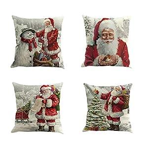 Fossrn 4 Piezas Navidad Fundas Cojines 45×45, Funda de Cojín Decoracion para Hogar Casa Sofa Jardin Cama