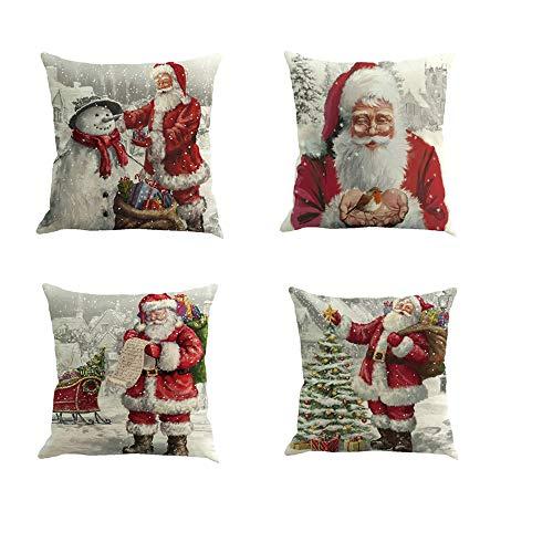 Fossrn 4 Piezas Navidad Fundas Cojines 45x45