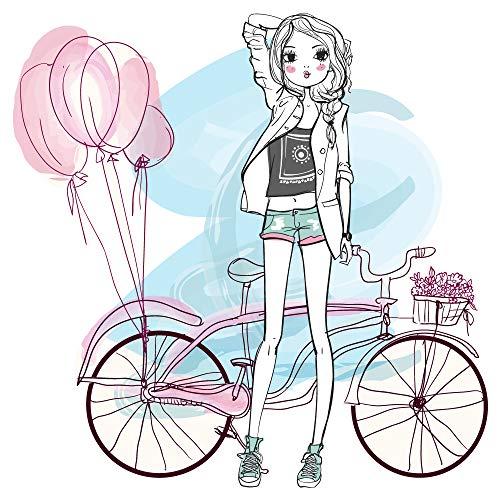 o Modernes Design Mädchen mit Fahrrad Cruiser und Ballons ()