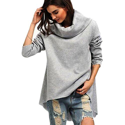 Sannysis Damen Lose Asymmetrisch Jumper Sweatshirt Pullover Bluse Oberteile Oversize Tops (XL, Grau2) (Vintage-pullover Gefütterte)