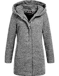 Sublevel Damen Woll-Mantel Jacke LSL-298 Kapuze meliert