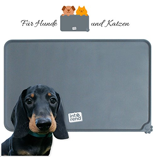 int!rend Premium Napfunterlage | Futtermatte | aus Silikon | für Hund & Katze 47 x 30 cm | rutschfest und wasserdicht | mit Pfötchendesign | Version 2018