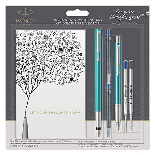 Parure stylo bille et stylo plume PARKER Vector bleu avec 4 cartouches