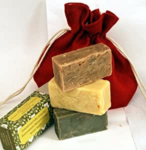 This offer contains, Lemongrass and Ginger Shea Butter Soap, Mango and Lime Tropical Shea Butter Soap, Midnight Black Clay Shea Butter Soap. You get 3 Bars of rich Creamy soaps. Natural, Moisturising, Shea Butter Natural Hand Made Soap Gift Set in a