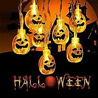 Halloween Pumpkin String Lights, AUELEK 2M 20 LEDs Battery Operated LED Fairy String Lights 3D Pumpkin Light Indoor Outdoor Halloween Parties Decorations Series (Pumpkin)
