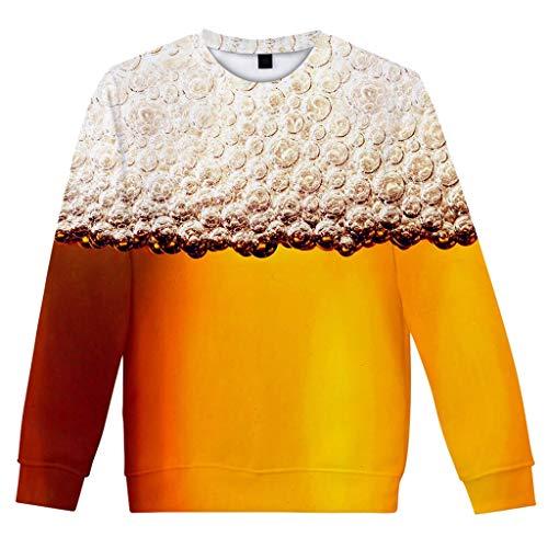 Zolimx Festival Bier Laternen Pullover Kostüm Punk Hip Hop Hoodies Sweatshirts Tops Herren Casual Langarm Bier Festival 3D-Druck O-Ausschnitt Shirt