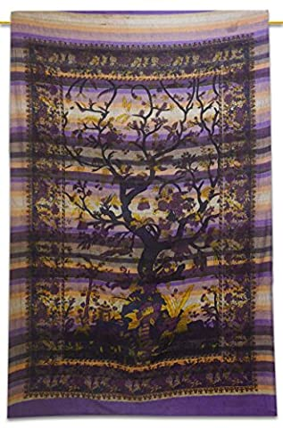 Baum Des Lebens Cotton Indian Wandbehang Tapisserie Twin Size Lila Wurf 84X56 Zoll