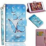 Sony Xperia XZ3 Handyhülle Hülle 3D Gemalt Wallet Flipcase PU Leder Schutzhülle Bookstyle Handytasche Brieftasche Kartenfach Ständer Magnetisch Handyschale Hardcase Blauer Schmetterling