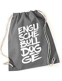 2f4ae2cbebc6d Turnbeutel - ENGLISCHE BULLDOGGE english Bulldog - FONT Schrift Baumwoll  Tasche Beutel Siviwonder grau