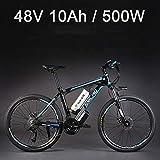 SMLRO 26' bicicletta elettrica della lega di alluminio della batteria al litio 48V 500W, bici elettrica di 27 velocità, MTB/mountain bike, adotta i freni a disco dell'olio (10Ah Nero Blu)