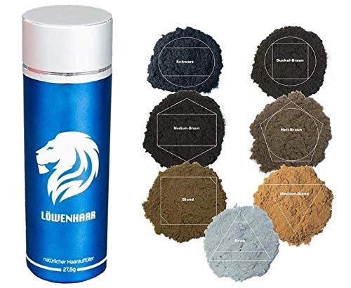 LOEWENHAAR® (27,5g, Medium Blond) | Streuhaar, Schütthaar, Hair Fibers | Haarverdichtung bei lichtem Haar und Haarausfall | Volles Haar in Sekunden