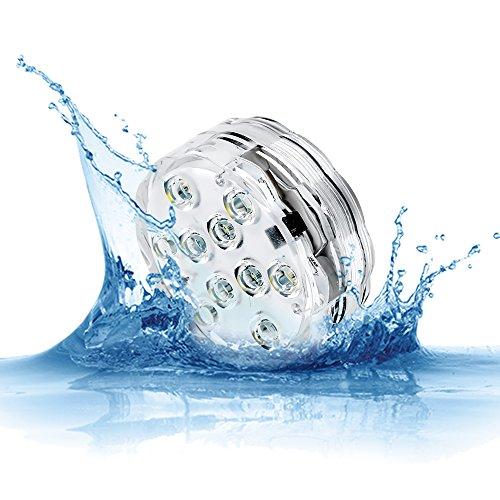 Lámparas del submersibles para piscina, 10del IR Control remoto RGB batería impermeable incluida luces alimentées para base de jarrón, estanque, lámparas, lámparas del LED, luces de fiesta, Jacuzzi, Navidad, Halloween lámparas impermeable para piscina, blanco