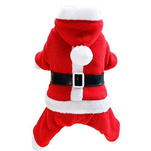 Loveso-Huastier Hunde Kleider Bekleidung Weihnachten Haustier Hund Katze Vier Beine Liebhaber Tuch Kostüm Winter-Kleidung-Welpen warme Mantel (M, Rot (Bein Hund 2 Kostüme)