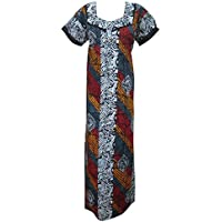 Mogul Interior Women's Kaftan Summer Maxi Dress Large Blue/Red/Yellow