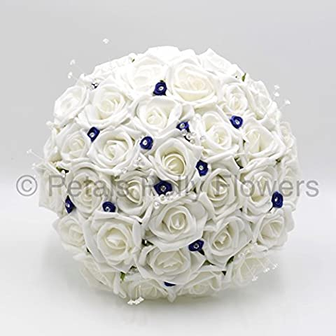 Artificial Wedding Flowers Hand-made by Petals Polly, BRIDES POSY, WHITE ROSES with NAVY BLUE DIAMANTE RIBBON ROSES by PETALS POLLY FLOWERS