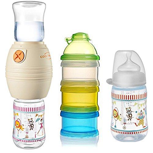 Preisvergleich Produktbild NIP Flaschenkühler Cool Twister Set // 1 x NIP Flasche 260ml mit Sauger Gr. M // 1 x Reer Milchpulver- Portionierer