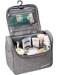 Neceser de Viaje para Colgar Bolsas de Aseo Cosméticos Organizador Accesorios de Baño Material Resistente y Impermeable Bolsas de Aseo Personal Viajes Vacaciones Viajes de Negocios Color Gris