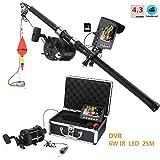 ENNIO en Alliage d'aluminium Underwater Pêche Caméra vidéo kit 6W Ampoules LED IR avec 10,9cm Pouces HD DVR Enregistreur Moniteur Couleur