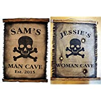 Customized Flag wall decor made of burlap and wood  Rustic Decor  Pirate flag Wall art  Personalised Gift  Man Cave, Home Bar, Boys Room