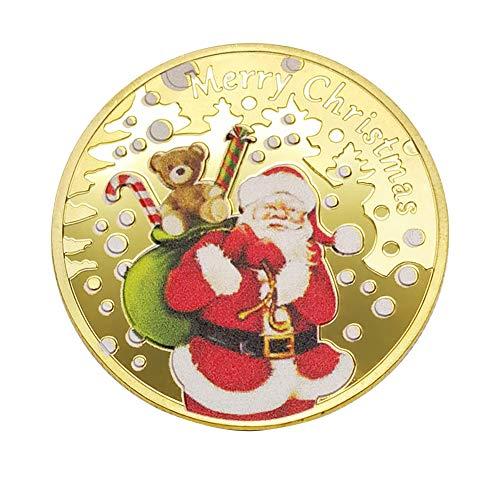AchidistviQ Weihnachtsmünze, Souvenir, Prägung, Geschenk goldfarben -
