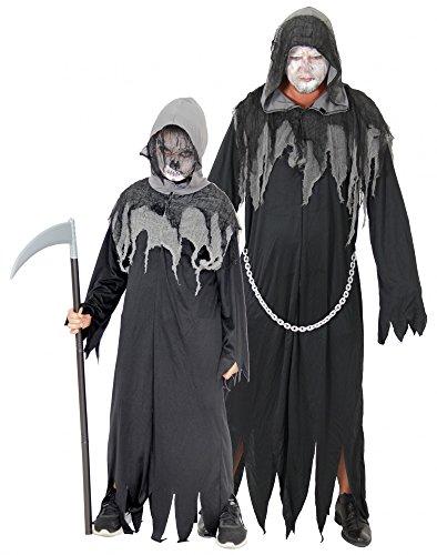 Foxxeo 40087 | Sensenmann Horror Kostüm für Kinder und Erwachsene | Gr. 122-170 und M-XXXL | Grim Reaper Sensemann Halloween Herren Tod , (Kinder Sensenmann Kostüm)