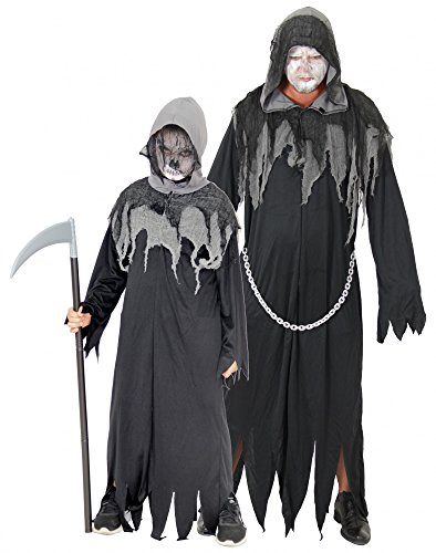 Kostüme Kinder Erwachsene (Foxxeo 40087 | Sensenmann Horror Kostüm für Kinder und Erwachsene | Gr. 122-170 und M-XXXL | Grim Reaper Sensemann Halloween Herren Tod ,)