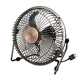 GFF Ventilador eléctrico pequeño/Ventilador de Escritorio/Aire Acondicionado/refrigeración/hogar/USB/Dormitorio/Escritorio/Exterior/Retro, marrón Amarillo, 20 * 10 * 20 cm