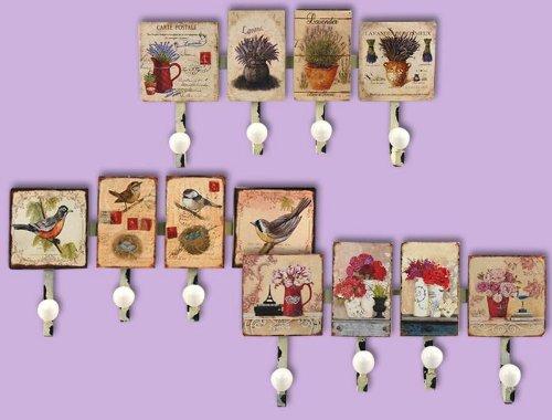 Set 3 dekorierte Garderobenleisten, 4 Haken
