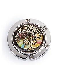 Xiton redonda plegable del monedero del diseño del pavo real del gancho bolso de colgar titular bolsa colorido