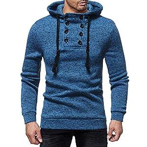 SUCES Männer Herbst Winter Lässige Kapuzenpullover Langarm Knopf Sweatshirt Herren Einfarbig Kaputze Hemd Schmale Hoodie Hipster Jumper