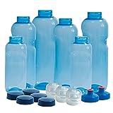 6 x Original Kavodrink Trinkflaschen aus TRITAN 100% ohne Weichmacher im Sparset: 2x1 Liter (rund), 2x 0,75 Liter (rund), 2x0,5 Liter (rund) + 5 Standarddeckel + 3 Sportdeckel (FlipTop) + 2 Trinkdeckel (Push PULL) Wasserflaschen