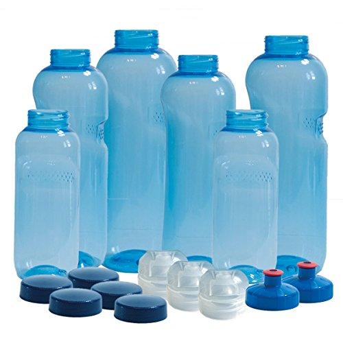 6 x Original Flaschen aus TRITAN ohne Weichmacher Sparset 2 x 1 Liter (rund), 2x 0,75 Liter (rund), 2x0,5 Liter (rund) + 5 Standarddeckel + 3 Sportdeckel (FlipTop) + 2 Trinkdeckel (Push PULL) BPA frei -
