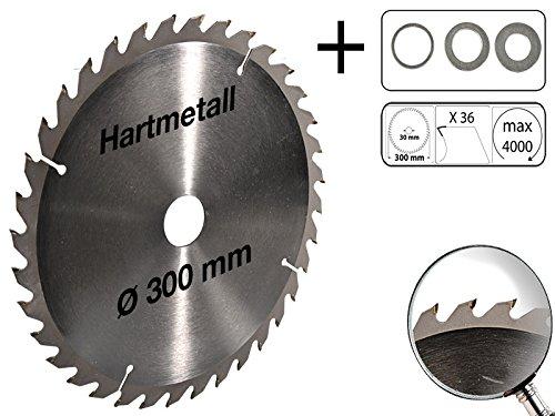 Profi Hartmetall Kreissägeblatt für Holz PVC 300 mm x 30 mm 36 Zähne mit 3 Reduzierringe