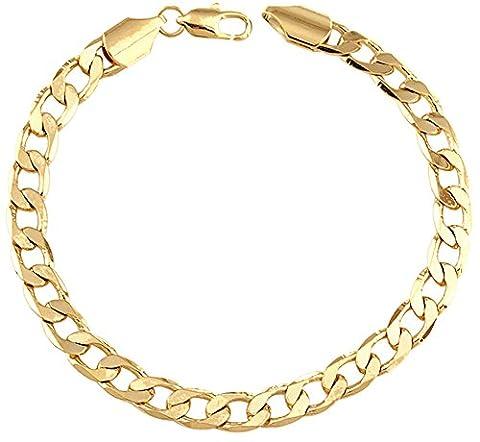 ipink Unisexe Bracelet Chaîne torsadée en or jaune 18K