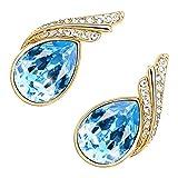 GWG® 18K Gold Veredelte Ohrringe für Frauen mit Inlay in Form eines Glitzernden, Aquamarin-Blauen Österreichischen Haupt-Kristalls und 2 Bändern mit Diamant-Klaren Steinen in Wassertropfen-Form