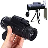 FENGSHUN Monocular Telescope Kit, 40x60 Monocular Telescope Outdoor Archery Hunting Camping Bird Watching Wildlife Hand-held HD Spotting Scope Telescope Set Including Compass/Tripod/Phone Clip/Carry Pouch etc
