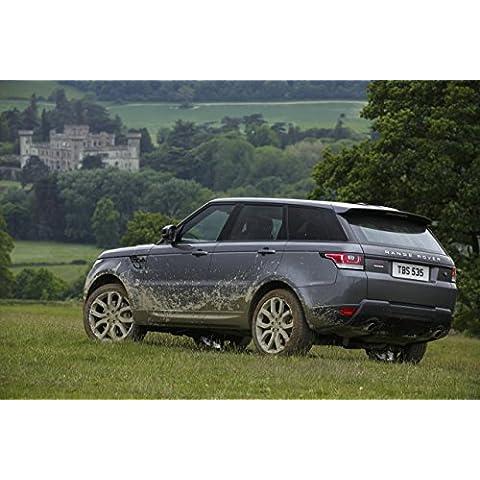 Classic y los músculos de los coches y para coches Land Rover Range Rover Sport V8 sobrealimentados (2013) coche Póster en 10 mil Archival papel satinado de parte trasera vista estática, papel, Silver Rear Side Static View, 36