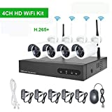 Kit Videosorveglianza WiFi Esterno AOTTOM H.265 4 Canali 720P Sistema Videosorveglianza WiFi, CCTV...
