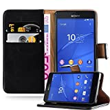 Cadorabo Hülle für Sony Xperia Z3 COMPACT - Hülle in Graphit SCHWARZ – Handyhülle im Luxury Design mit Kartenfach und Standfunktion - Case Cover Schutzhülle Etui Tasche Book