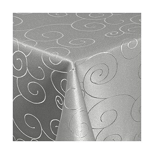 Damast Tischdecke Maßanfertigung im Ornamentedesign in Grau Größe wählbar 120cm x320cm