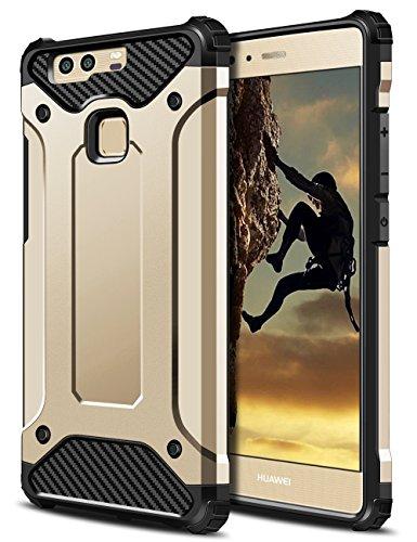 Huawei P9 Hülle, Coolden® Outdoor Stossfest Amor Case Robust Display & Kamera Schutz Handyhülle Anti Dust Design Militärischer SchutzHandytasche für Huawei P9 Smartphone Gold
