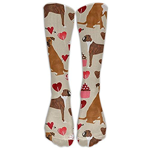 Boxer Dog Valentines Love Cupcakes Tube Socks For Women & Men - Graduated Athletic Fit For Running, Nurses, Flight Travel, Skiing & Maternity Pregnancy - Boost Stamina & Recovery