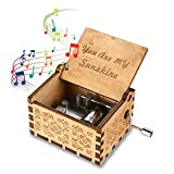 FOONEE Handmade Wooden Music Box, Various Themes Hand-cranked Carved Classical Music Box Best Gift For Lover/Children/Boys/Girls/Friends, Wood Color
